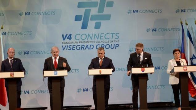 Le Premier ministre Netanyahu et ses homologues du hongrois, slovaque, tchèque et polonais, le Groupe de Visegrad,à Budapest, le 19 juillet 2017. (Crédit :Haim Tzach/GPO)
