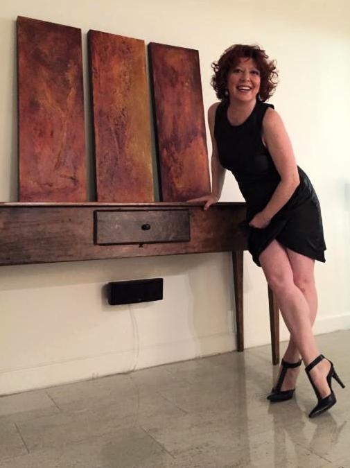Clara Berta with her artwork Spring Love