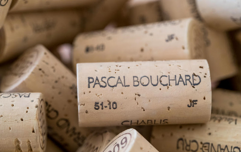 A group of Pascal Bouchard wine bottle corks.