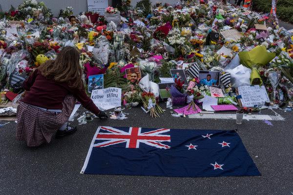 A memorial near Al Noor mosque in Christchurch.