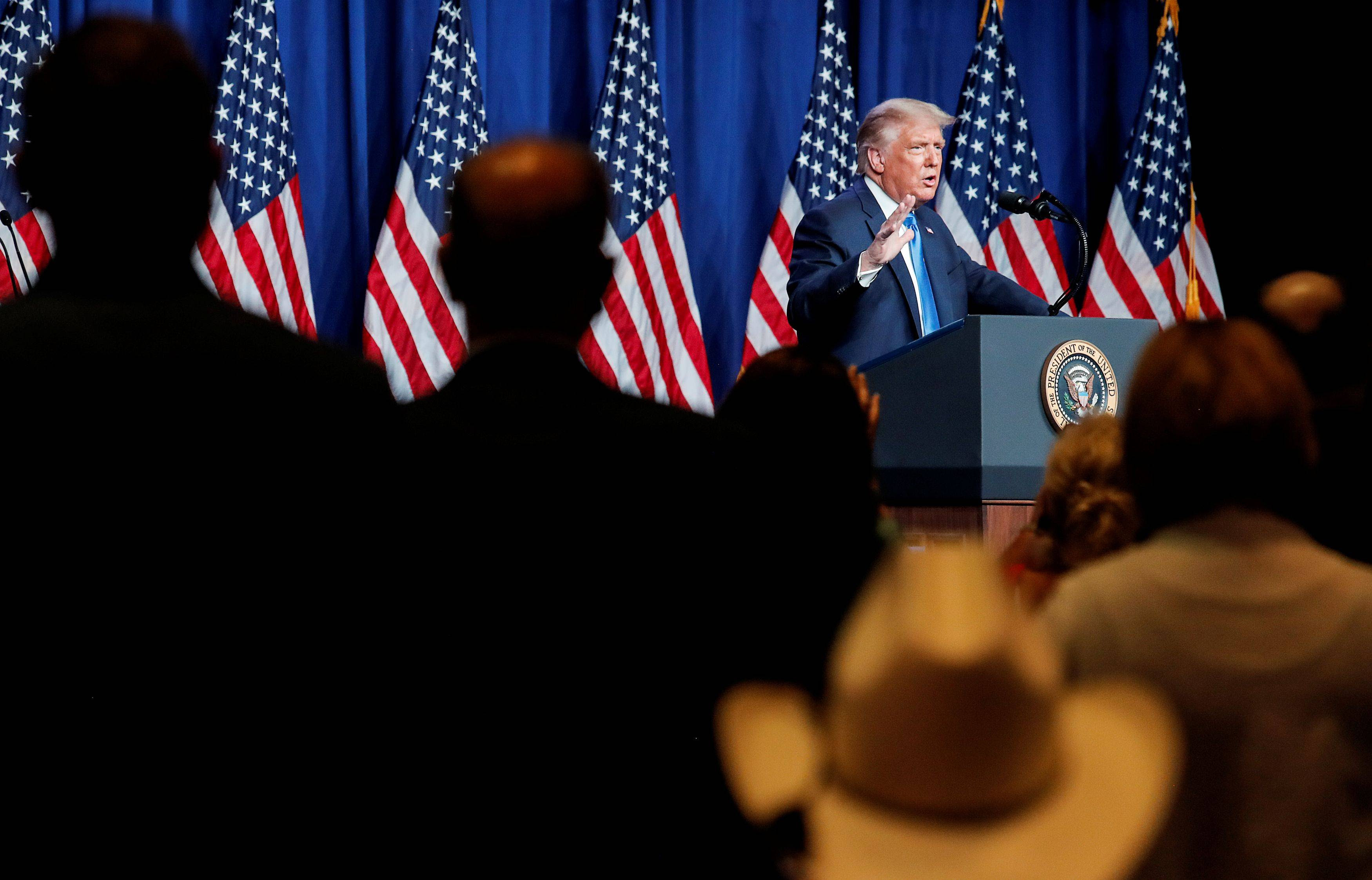 President Trump addresses the first day of the Republican National Convention after delegates voted to confirm his nomination Monday during the day, before the prime time events. (REUTERS/Carlos Barria)
