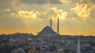 A general view of Fatih Mosque and the area around at sunset. On Tuesday, 17 October 2017, in Istanbul, Turkey