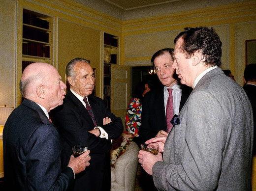 Shimon peres, edgar bronfman Laurence Tisch Itamar Rabinowitz