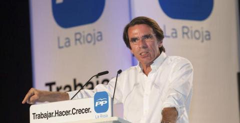 El expresidente del Gobierno, José María Aznar, en Logroño. / EFE
