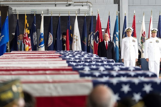 Vice President Pence participate in an Honorable Carry Ceremony