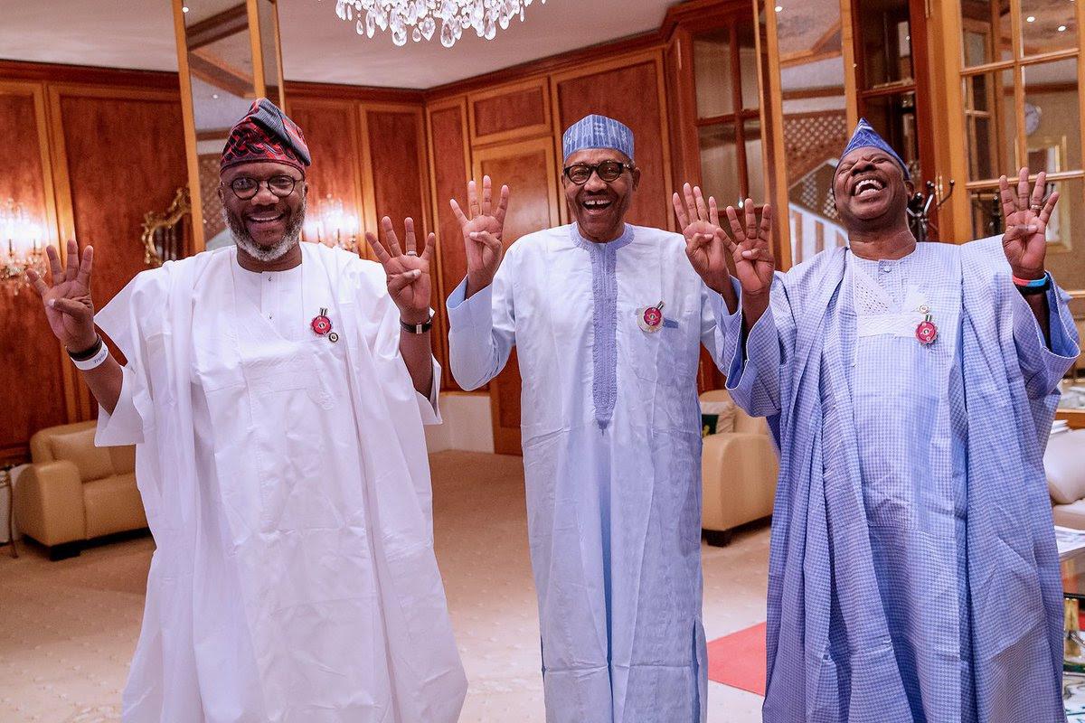 L-R: APM's Ogun governosrship candidate, Adekunle Akinlade, President Muhammadu Buhari, and Governor Ibikunle Amosun @BashirAhmaad