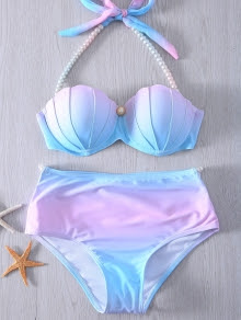 Halter Neck Tie Dye Pearl Embellished Bikini Set For Women