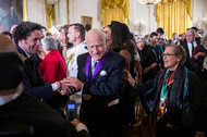 """It must weigh five pounds,"" said the director Mel Brooks, joking about the weight of his National Medal of Arts, presented to him on Thursday by President Obama during a ceremony at the White House."