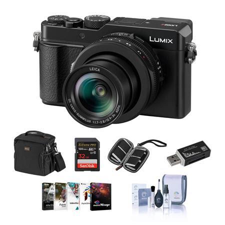 Lumix DC-LX100 II Digital Point & Shoot Camera with 24-75mm LEICA DC Lens, Black - Bundle