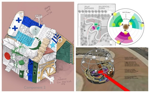 Clockwise from left to right: Project sketch of Carry-on Homes by Carry-on Family, Project sketch of Uncommon Courtesies by Yes Let's, Project sketch of United Nations by Samuel B. Ero-Phillips