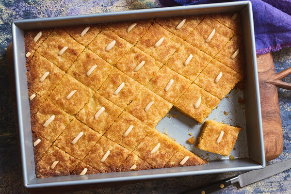 Syrup-soaked semolina cake.