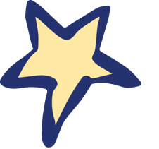 yellow star with blue outline