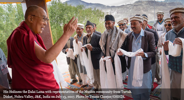 His Holiness the Dalai Lama with representatives of the Muslim community from Turtuk.  Disket, Nubra Valley, J&K, India on July 13, 2017. Photo by Tenzin Choejor/OHHDL