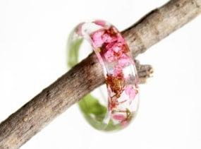 Pink Alyssum Flower Ring, Resin Ring, Flower Jewelry, Resin Jewelry, Dried Flowers, Resin Flower Jewelry, Nature Ring, Botanical Jewelry