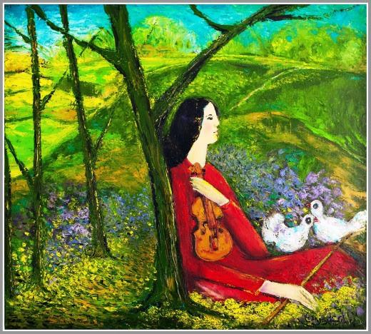 Còn nắng trên đồi. Tranh sơn dầu trên bố 90cmx100cm by Nguyễn Sơn