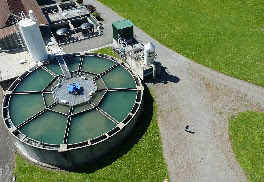aerial view of water treatment plant