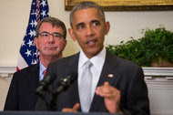"""Ashton B. Carter, the defense secretary, with President Obama in July. """"The United States does not seek a cold, let alone a hot war, with Russia,"""" Mr. Carter said on Wednesday."""