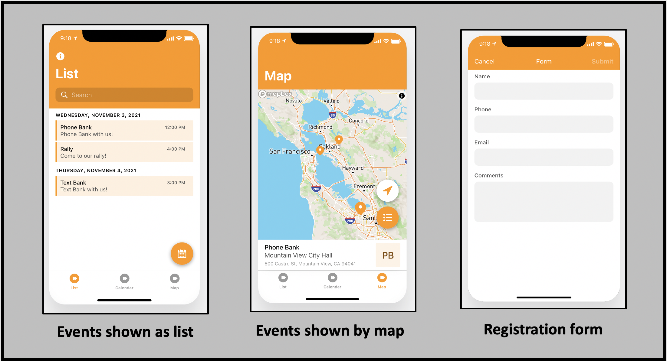 Share event details as a list, calendar or map to make it easy for people to sign up for them with the free SignMeUp app.