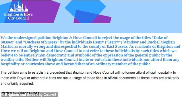Campaigner Charles Ross has accumulated more than 3,800 signatures for his petition (pictured), which means Brighton and Hove City councillors will have to discuss the motion on Thursday