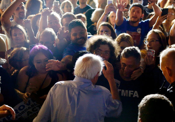 Bernie Sanders greeting supporters after a rally on behalf of the Affordable Care Act in Covington, Ky., in July.