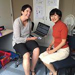Dr Kyoko Mikami (right) visiting Japanese teacher Olivia Graham
