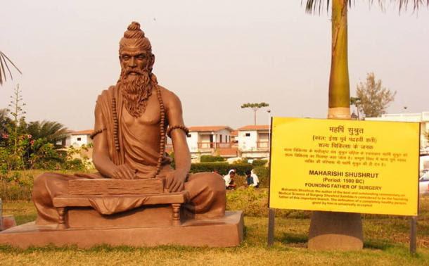 statue dedicated to Sushruta - La Cirugía Sushruta Samhita y plástica en la India antigua, del siglo sexto antes de Cristo