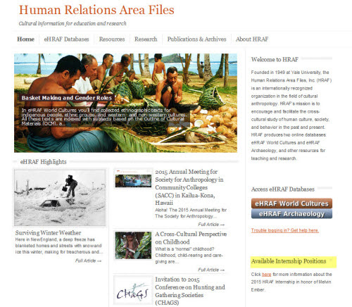 HRAF's home page with info link to internship position