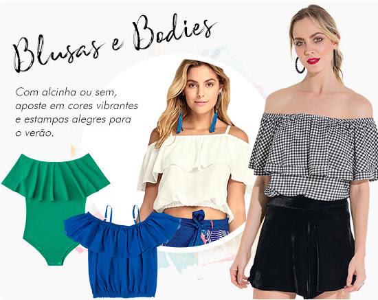 Blusas e bodies | Com alcinha ou sem, aposte em cores vibrantes e estampas alegres para o verão.