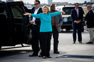 Hillary Clinton reacted to a question about how she felt on her birthday before boarding her plane in Miami on Wednesday.