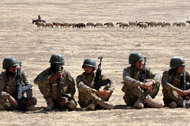 Iraqi soldiers during a training session for the battle to retake Mosul, as a shepherd led his herd in Bashiqa this month.