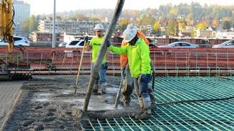 Crews pour concrete Oct. 22