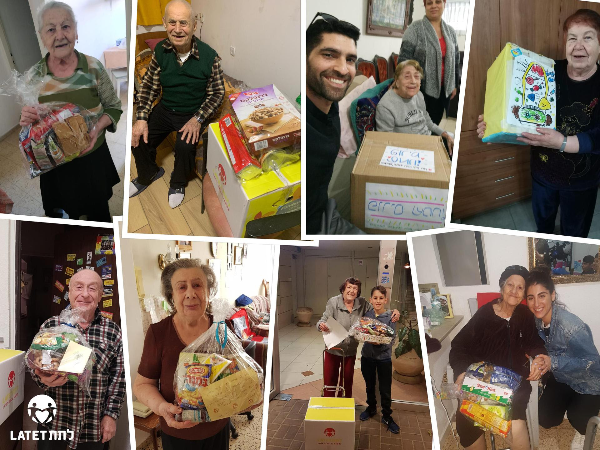 Holocaust survivors receiving Purim packages from Latet.