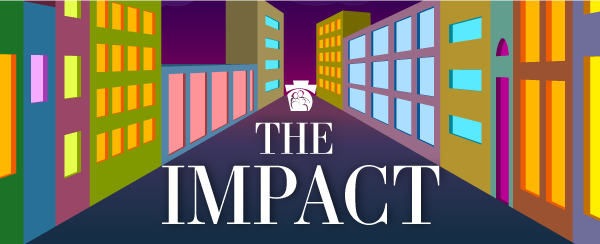The Impact newsletter banner has a DHS keystone and colorful building illustrations.