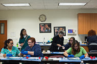 Students in the Medical Specialties program participate in a lab on the campus of Stevens-Henager College in Murray, Utah