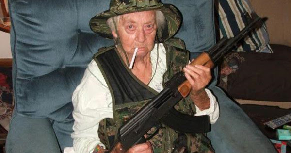 79 Year Old Granny With AK-47 and Bulletproof Vest Saves Cops in Watts.....