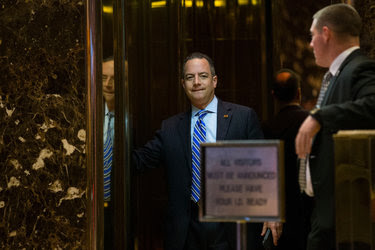 Reince Priebus at Trump Tower on Saturday.