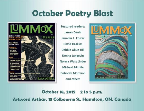 Canadian contributors of the California-based anthology LUMMOX will be reading in Hamilton on Sunday, October 18, 2015.
