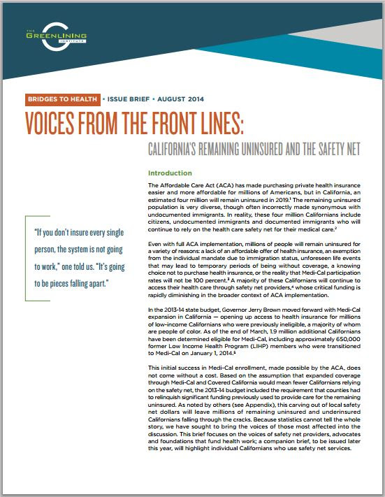 Download: Voices from the Front Lines - California's Remaining Uninsured and the Safety Net