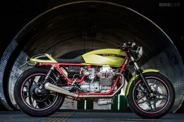 Moto Guzzi V65 cafe racer built by the Polish workshop PJP Motocykle.