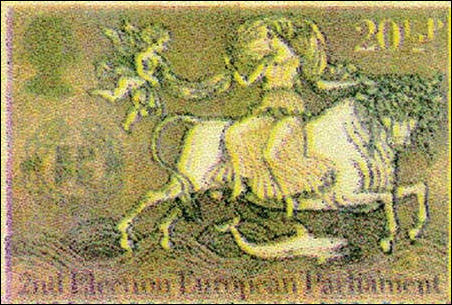 european stamp woman riding beast