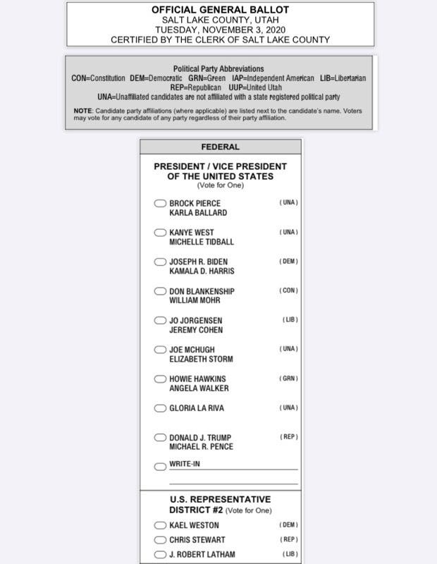 Salt Lake County sample ballot