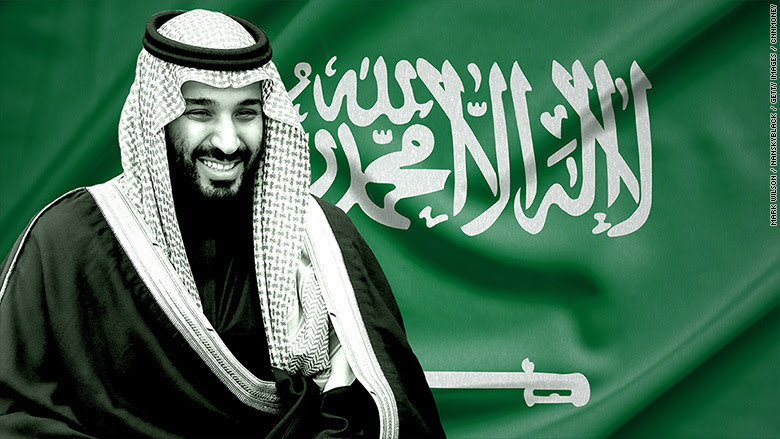 Saudi Crown Prince Mohammed bin Salman against the Saudi flag