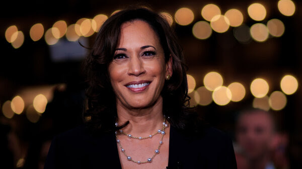 Kamala Harris, D-Calif., speaks during a television interview after the second night of the first Democratic presidential debates in Miami on June 27, 2019.