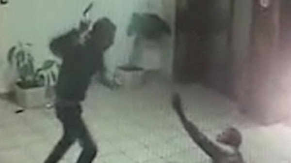 A frame from the security video of the terror attack in Ma'ale Adumim