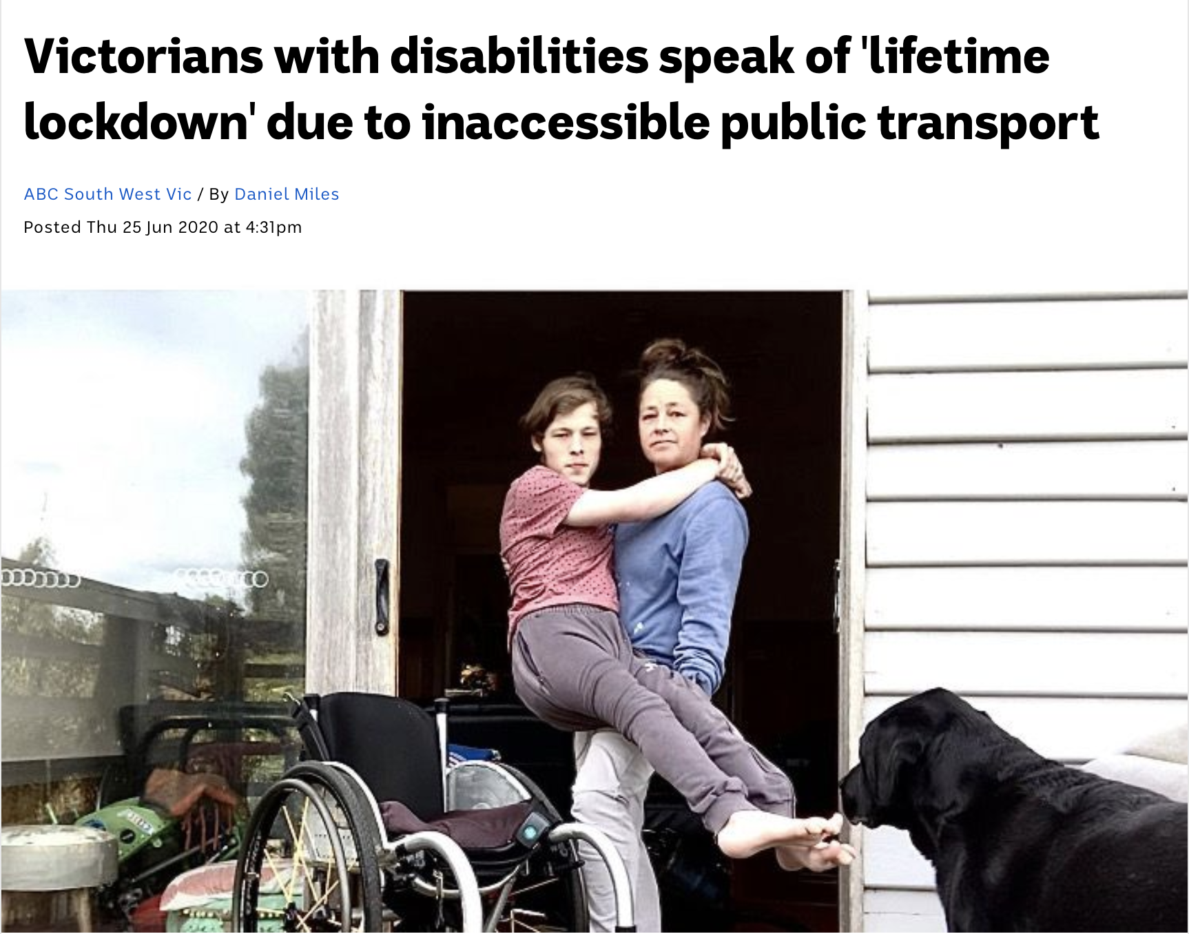 A screenshot of an ABC news online article of a mother holdingher teenage son in her arms as she lifts him into him wheelchair.