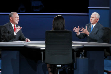 Senator Tim Kaine and Governor Mike Pence participate in the Vice Presidential debate at Longwood University in Farmville, Virginia, on October 4, 2016