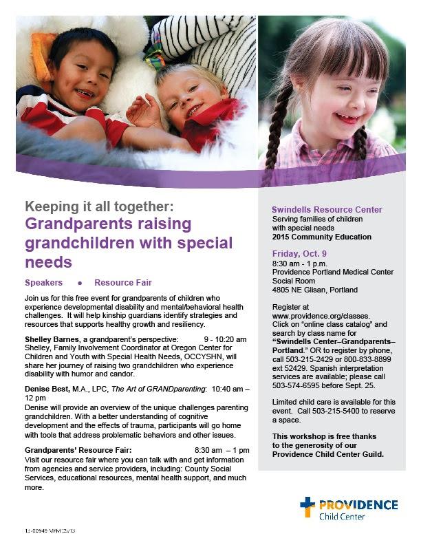 Grandparents Raising Grandchildren with Special Needs Resource Fair (Portland) @ Providence Portland Medical Center Social Room | Portland | Oregon | United States