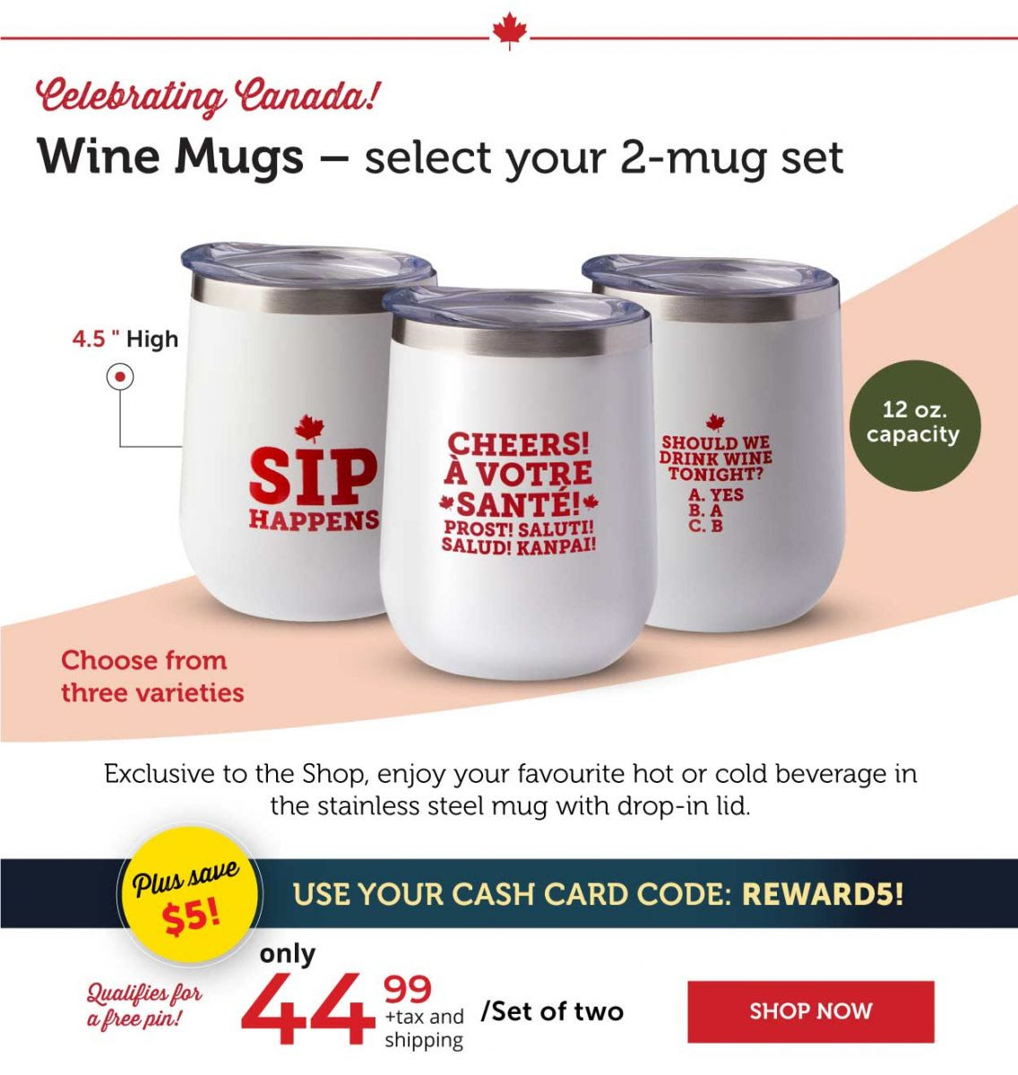 celebrating Canada wine mugs