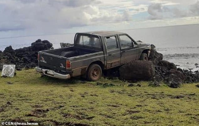 Image result for truck smashes easter island