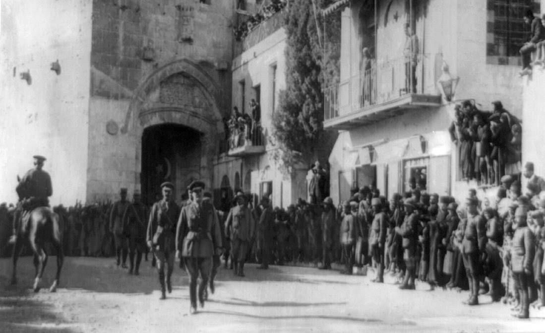 British General Edmund Allenby enters Jerusalem on December 11, 1917. Only days earlier, the city was still under the administration of the Ottoman empire, a 400-year-long occupation. Library of Congress.